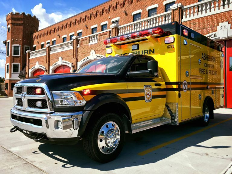 Ashburn Ambulance 22 in new Yellow and Black color scheme